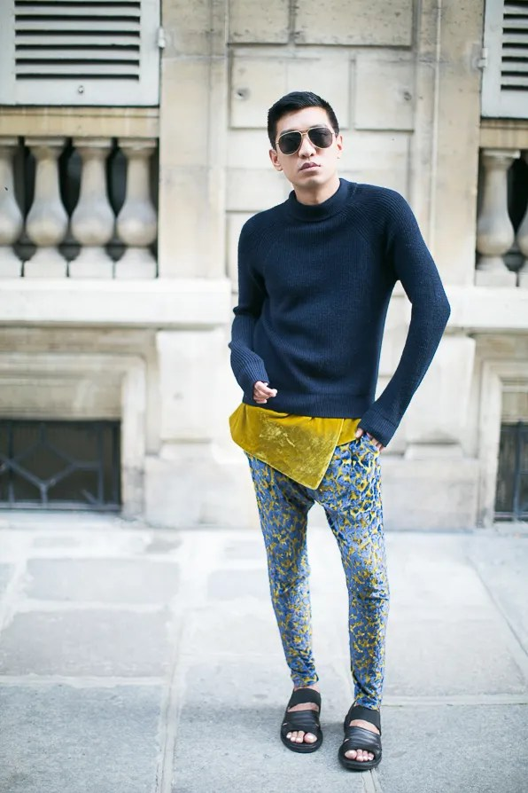 Bryanboy in Paris wearing trousers from fall winter 2013 Just Cavalli runway show