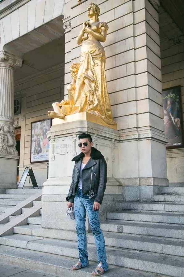 Bryanboy outside Kungliga Dramatiska Teatern wearing Acne