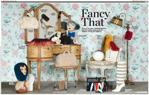 Fancy That - fur accessories on April 22, 2013 issue of Womens Wear Daily