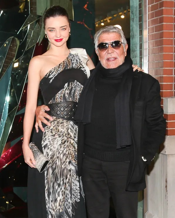 Roberto Cavalli and Miranda Kerr at Just Cavalli NYC store opening