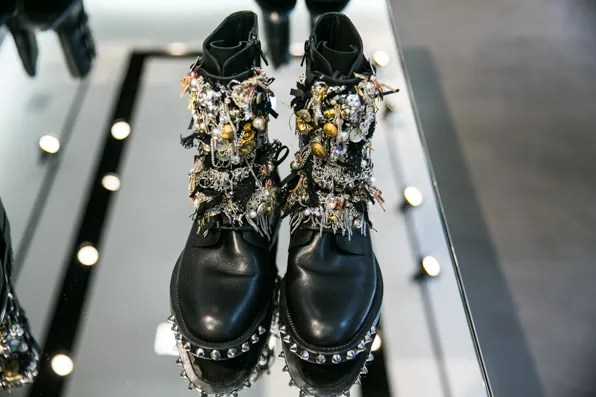 Fall Winter 2013 Saint Laurent Paris embellished biker boots