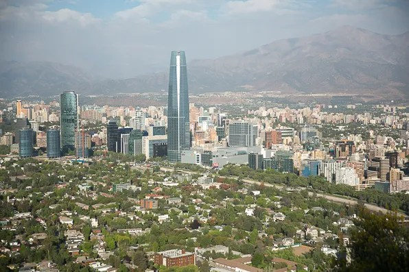 view of Costanera Center from Cerro San Cristobal, Santiago