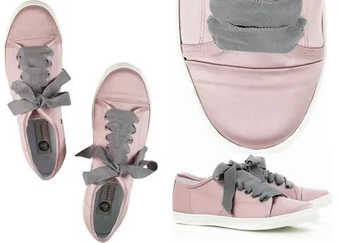 Pink satin Lanvin sneakers with grosgrain shoelaces.