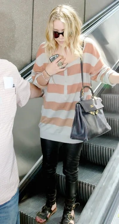 Kova & T Oxy Leggings, Mary Kate Olsen, Los Angeles airport with Hermes Kelly bag