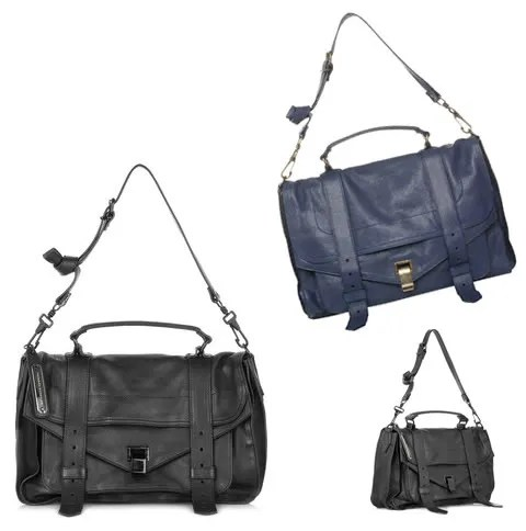 Proenza Schouler PS1 bag in black and midnight blue, size medium, as seen on Mary Kate Olsen and Vanessa Traina