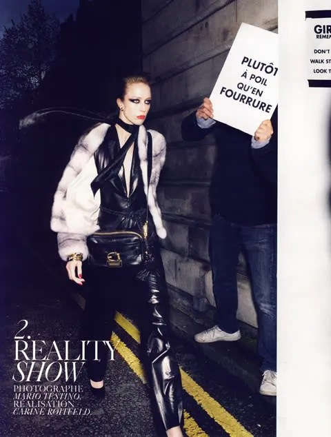 French Vogue, PETA, Fur is dead, Raquel Zimmermann, Carine Roitfeld