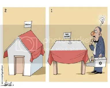 {1) Negotiation table 2) Settlement} by Ala Al Laqta-Palestine newspaper-Palestine