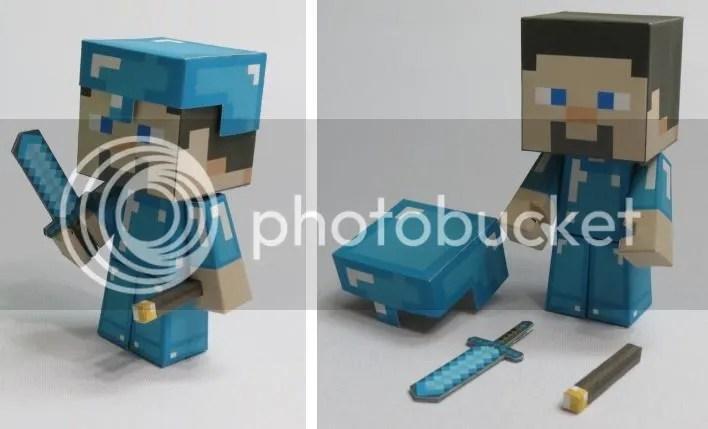 big minecraft papercraft steve with diamond armour - Minecraft Papercraft Diamond