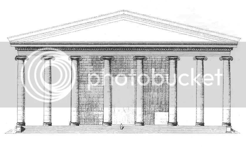 Reconstrucción del templo de Hera en la isla griega de Samos. Es el templo mayor de su época, con una longitud de 120 metros. La construcción empezó en el año 530 a. de C. y continuó hasta el siglo tercero a. de C. Reproducido de Der Heratempel von Samos de Oscar Reuther (1957).