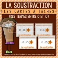 La Soustraction - Cartes à Tâches - des termes entre 0 et 10 - French Task Cards - For French Immersion