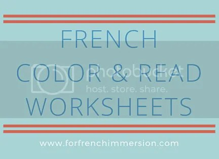 French Color & Read Worksheets