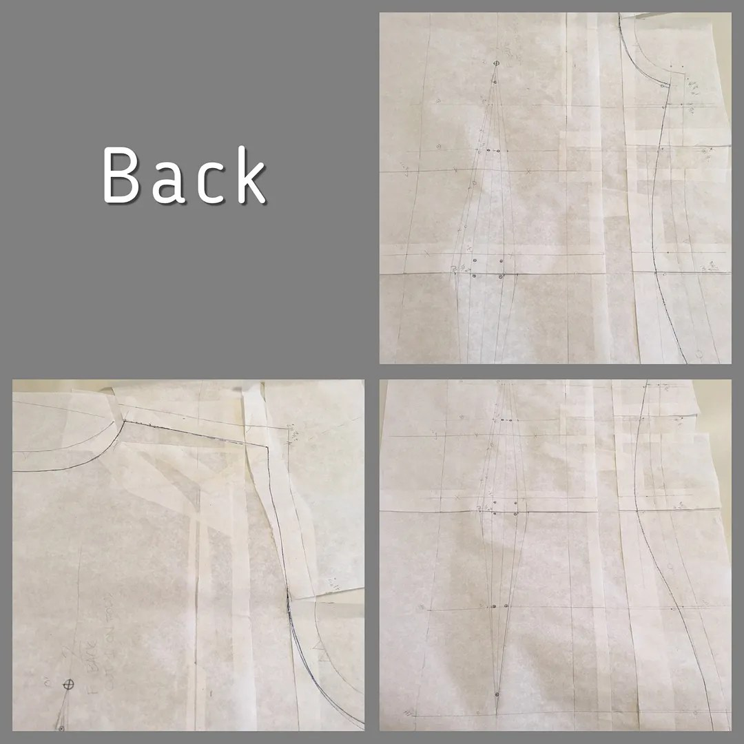 three views of a back bodice piece showing modifications detailed below