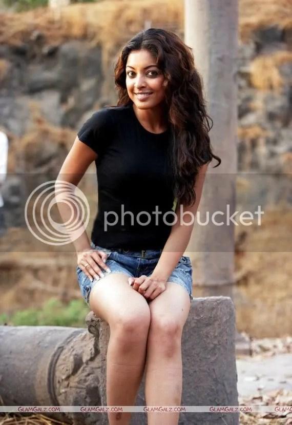 TanuShree Datta in Black Tshirt and Shorts