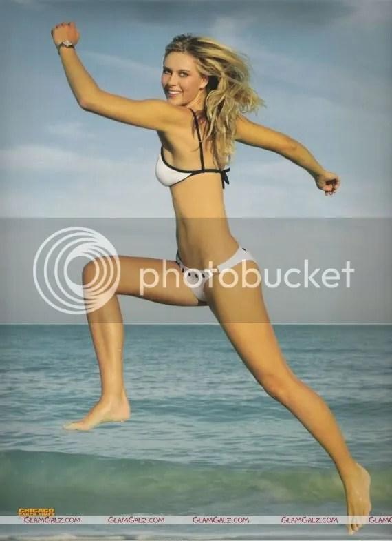 Maria Sharapova hairstyle in BnW Bikini