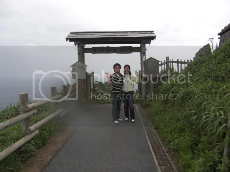 Tanaka Taichiro san and me. The gate to Cape Kamui says Women are not allowed. Probably because the sea breeze might blow their kimonos open? *panchira*