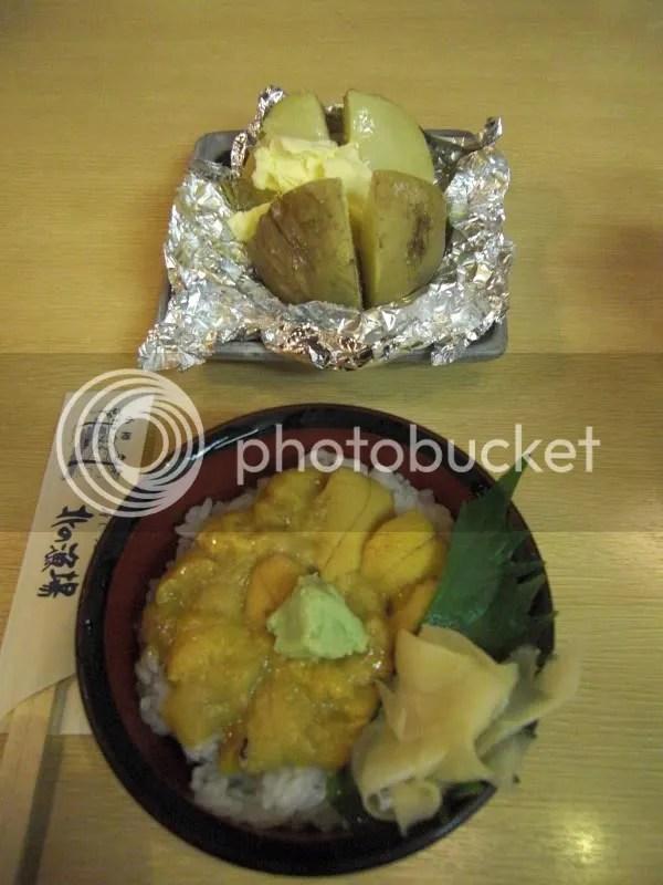 Uni donburi and fluffy buttered potato!!!