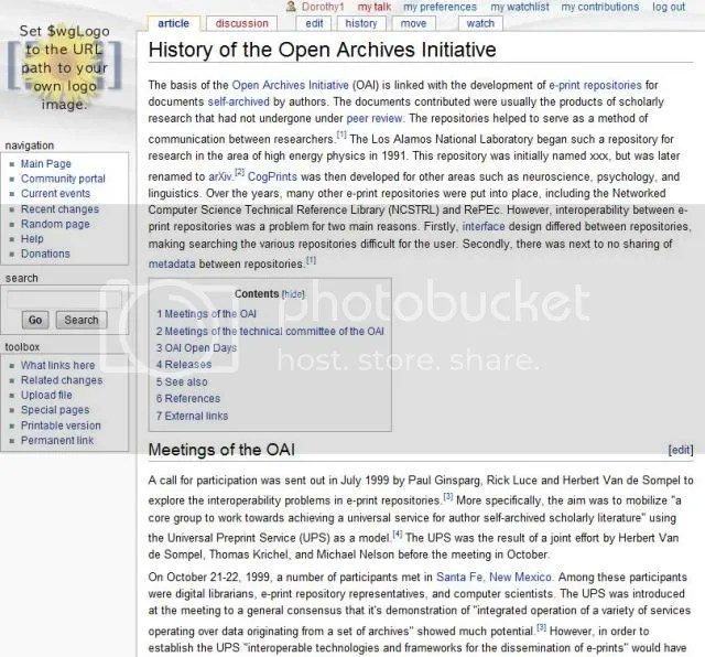 History of the Open Archives Initiative