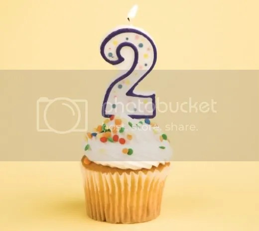 Image of a birthday muffin, announcing second birthday