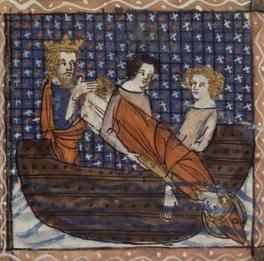 Dacien fait jeter le corps de saint Vincent à la mer. Vies de saints. Jeanne de Montbaston. XIVe.
