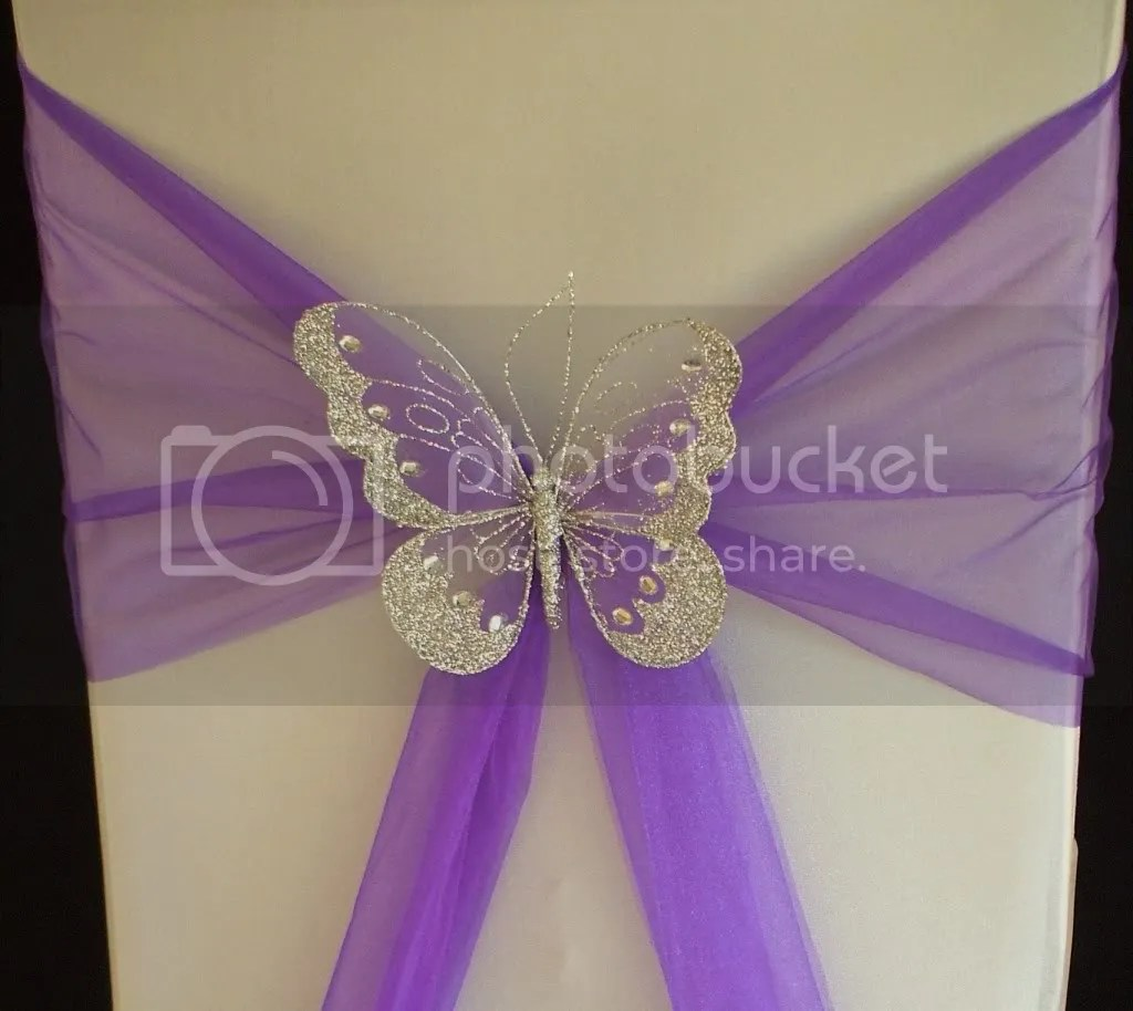 purple chair sashes for weddings fleece recliner covers xl butterfly wedding sash decoration top table gold