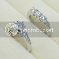Fashion Diamonique CZ White Gold Filled Engagement Wedding ...
