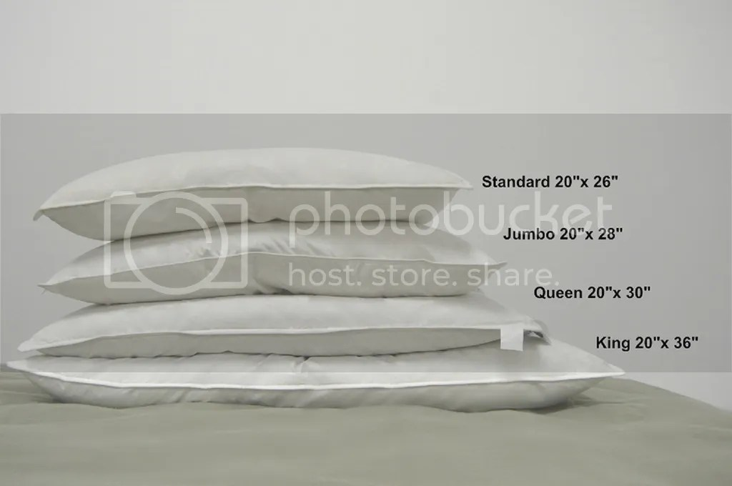 Q What are the different bed pillow sizes Pillowscom