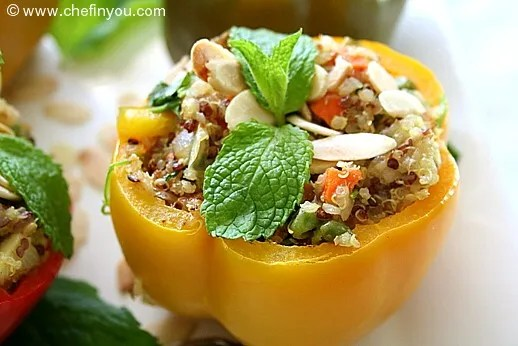 Vegetarian Quinoa Pilaf Stuffed Peppers Recipe
