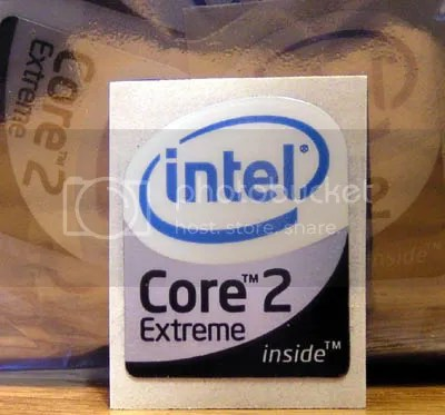 Intel Core 2 Extreme Inside part of bottom half has METALLIC shiny background 19mm x 23mm