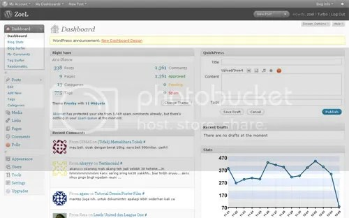Tampilan dashboard WordPress 2.7