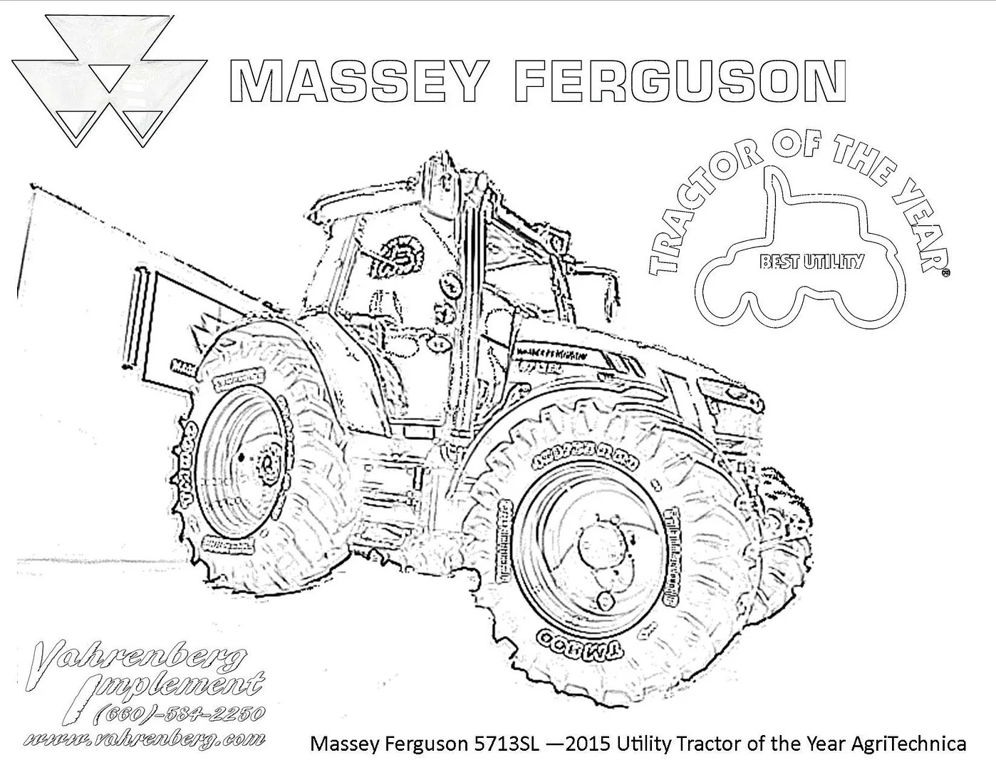 Massey Ferguson Tractor Coloring Pages Sketch Coloring Page