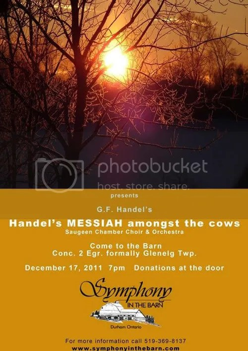 Handel's Messiah in the barn with the cows at Glencolton Farms