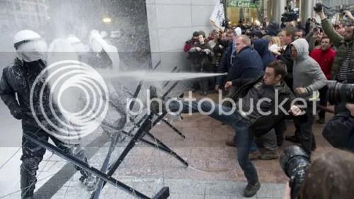 At the barricades. Photo via Fox News.