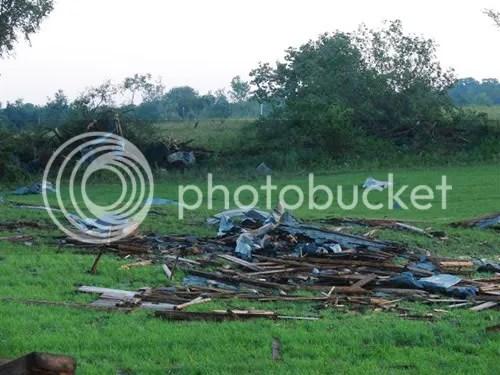 Destroyed barn scattered for miles.