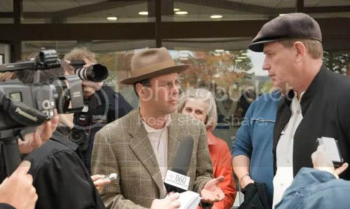 Raw milk farmer Michael Schmidt talks to reporters shortly after receiving Justice Boswells guilty verdict in the contempt case. While he was found to be in contempt on October 20th, it was not until December 2 that he received notice of sentence.