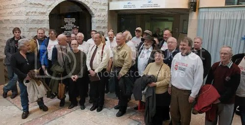 A few of Michael Schmidts Ontario Landowner supporters gather for a picture outside the court offices in Newmarket.