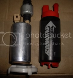 i really didnt feel like using some sort of inline and was begining to suspect my stock intank was getting tired enter the aeromotive stealth pump  [ 1024 x 768 Pixel ]