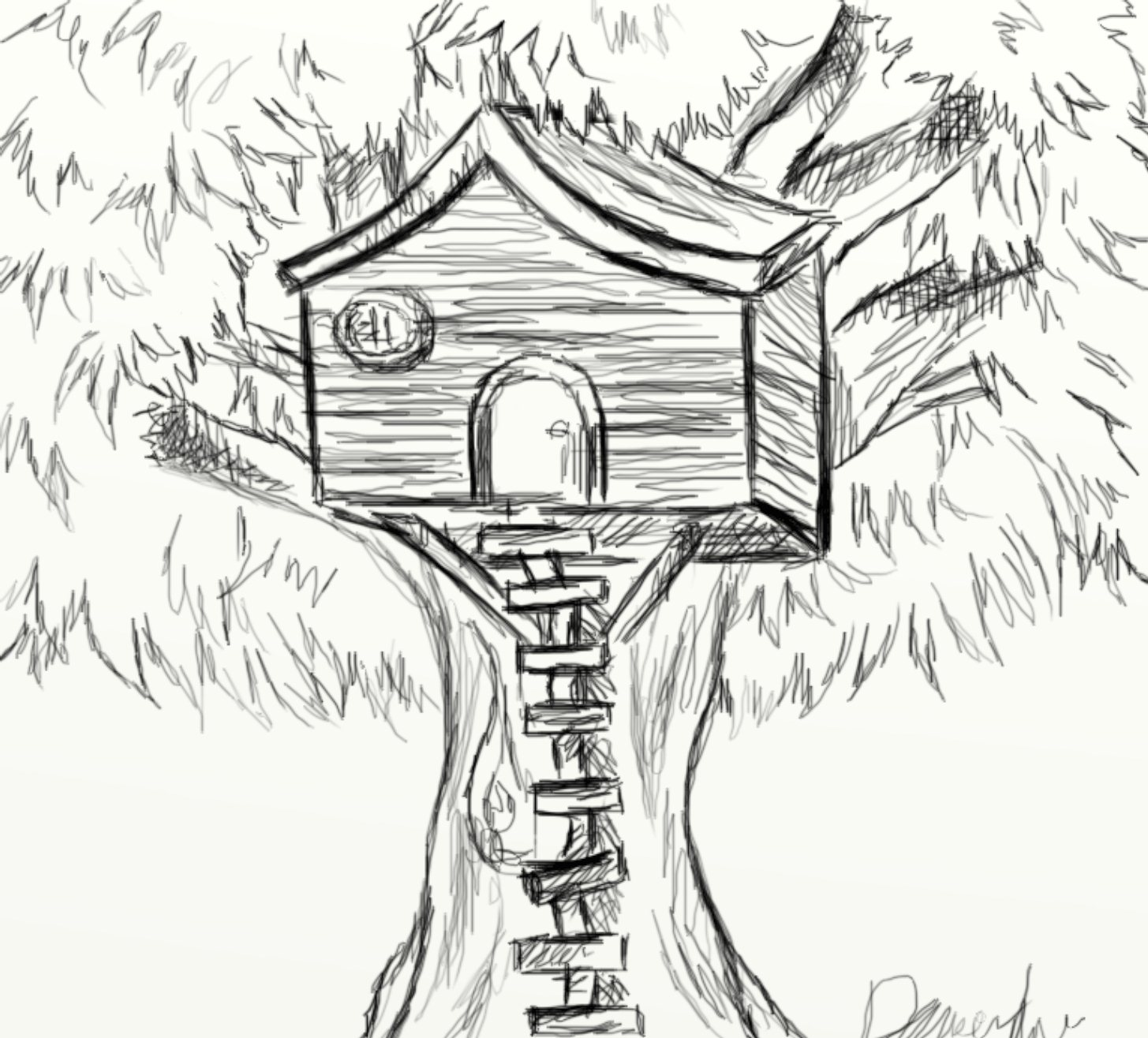 Day 196 Tree House Sketch