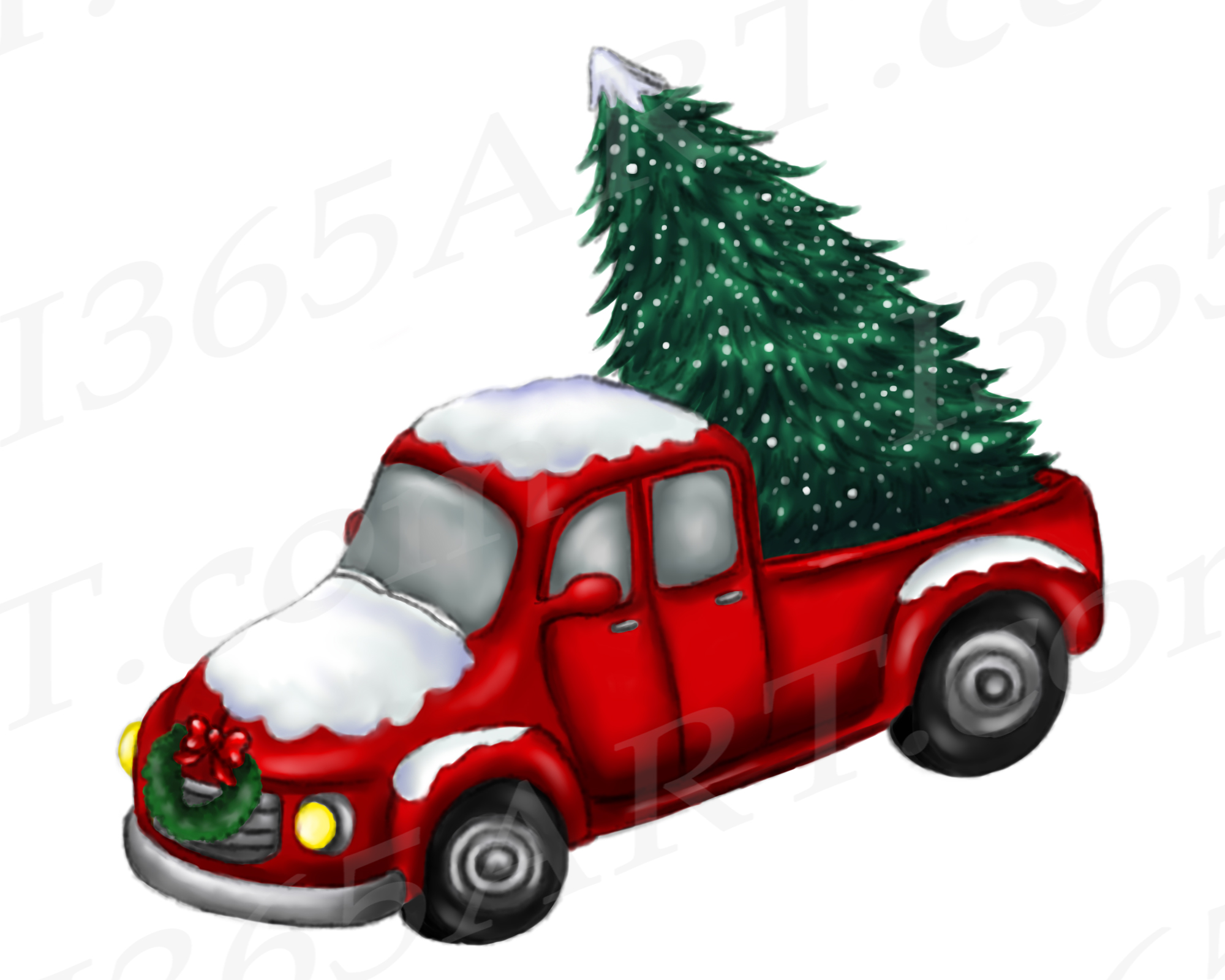hight resolution of christmas truck clipart