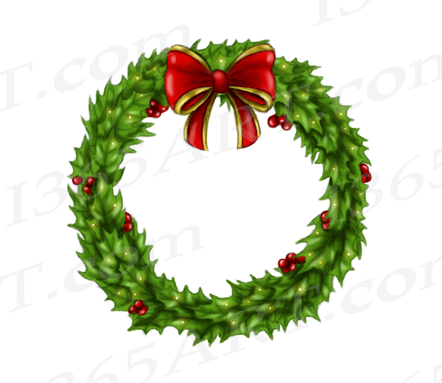 hight resolution of holly wreath clipart