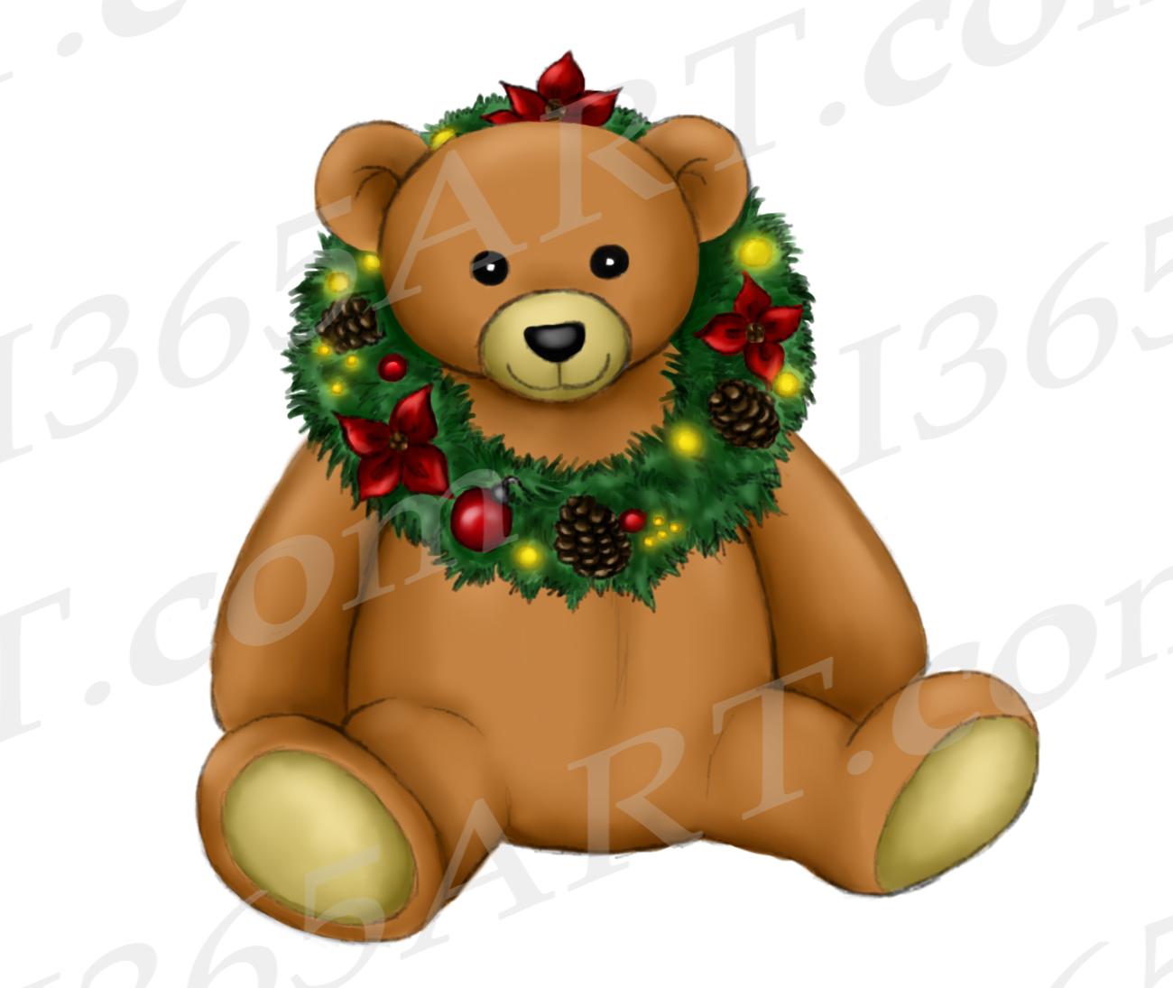 hight resolution of christmas teddy bear clipart