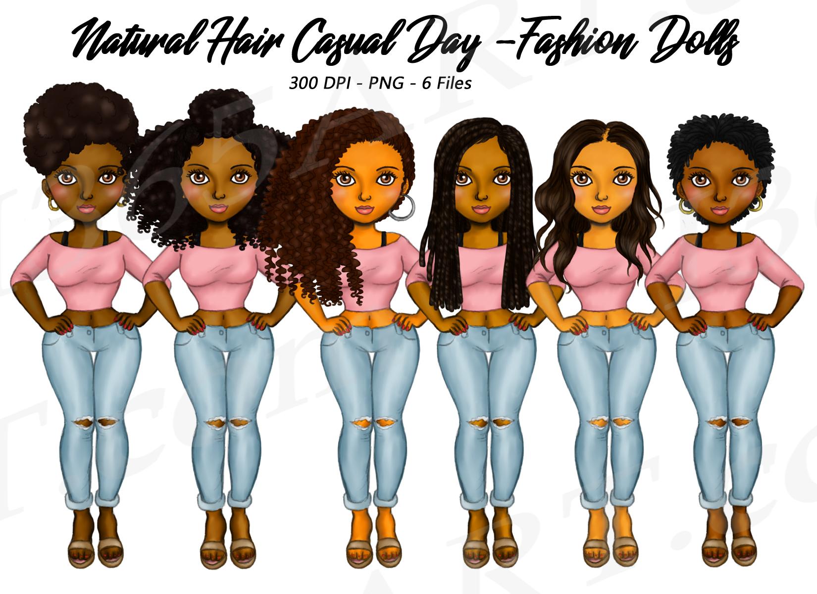 Black Fashion Girl Clipart Natural Hair Fashion Dolls Png I 365 Art
