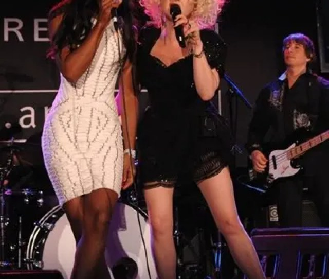 Kelly In Her Fab White Herve Leger Dress Hit The Stage With Cyndi And Estelle