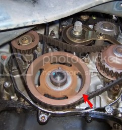remove the timing balancer belt and timing belt you ll want to remove the timing balancer belt drive pulley as well just slide it off once the timing  [ 1024 x 768 Pixel ]