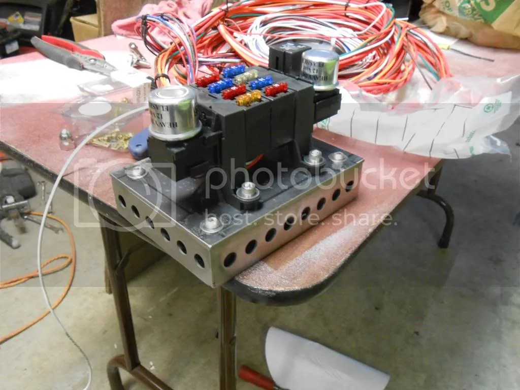 hight resolution of this is the mount that i made for my voltage regulator starter relay and my junction boxes for my power and ground leads that will go to the battery in the