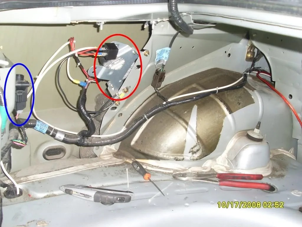hight resolution of the red circle is your fuel pump driver module location the blue circle is your inertia switch your items may look the same or slightly different