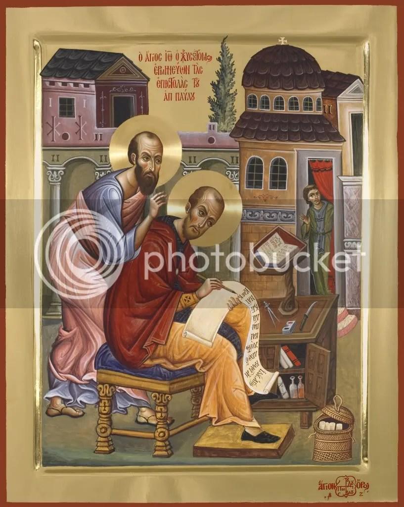 Ο Απόστολος Παύλος υπαγορεύει στο αυτί του Αγίου Ιωάννη του Χρυσόστομου. Εικόνα από το Αγιογραφείο της ΙΜΜ Βατοπαιδίου