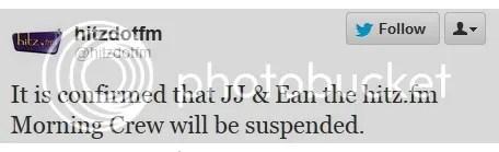 hitz fm jj ean suspended