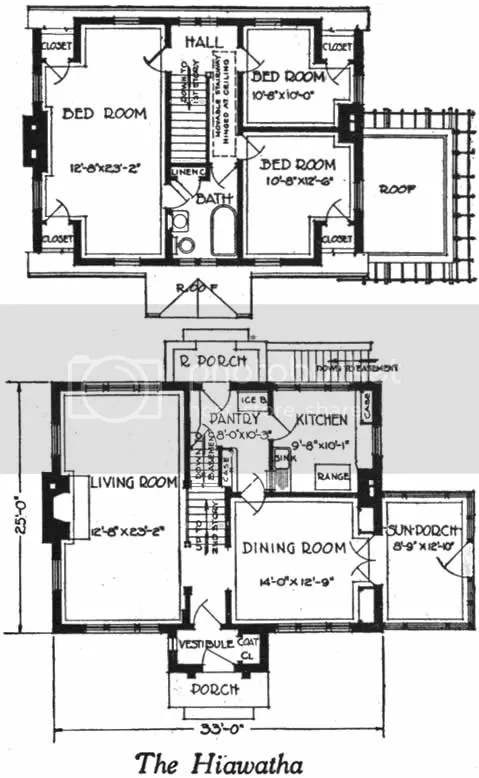 Cape house plan, 1922 Brick Dutch Cape, dormered, with sunroom