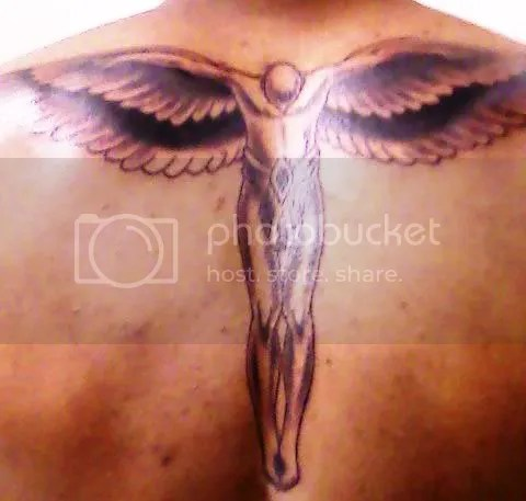 Flying Angel At The Backside Tattoo Design
