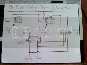 EK Power Folding Mirrors Schematic!!  HondaTech  Honda